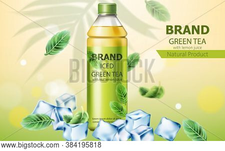 Realistic Bottle Of Natural Ice Green Tea With Real Lemon Juice Submerged In Ice Cubes And Mint Leav