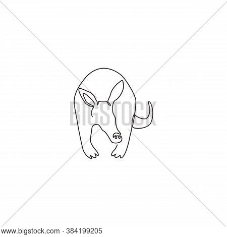 One Continuous Line Drawing Of Cute Aardvark For Company Logo Identity. Nocturnal Mammal Mascot Conc
