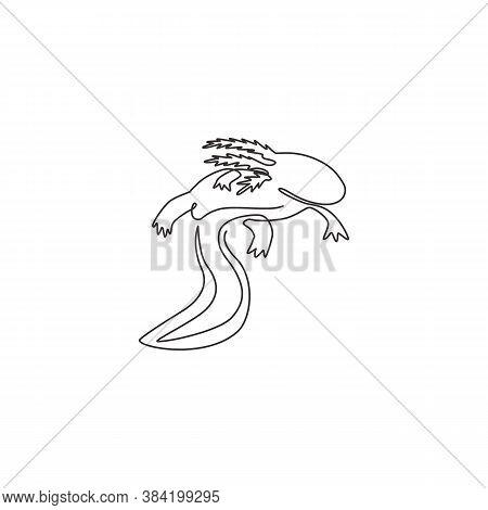 Single Continuous Line Drawing Of Beauty Axolotl For Company Logo Identity. Mexican Walking Fish Mas