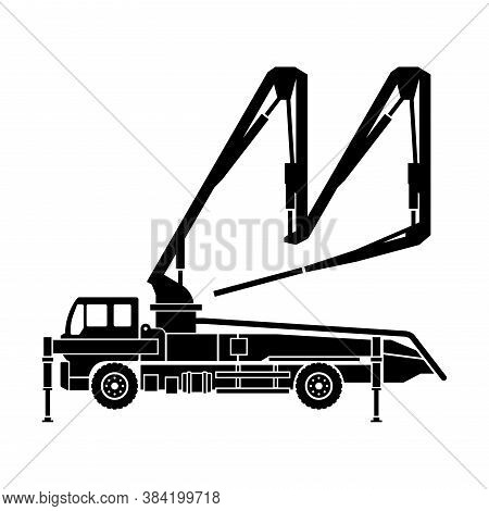 Concrete Pump Truck Silhouette - Machine Used For Transferring Liquid Concrete By Pumping That Attac