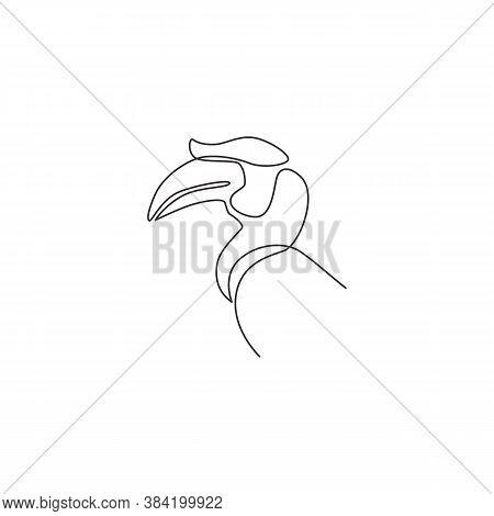 Single Continuous Line Drawing Of Beauty Great Hornbill Head For Company Logo Identity. Big Beak Bir
