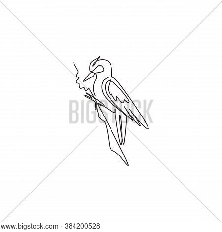 One Continuous Line Drawing Of Cute Woodpecker On Wood Tree. Beak Drummer Bird Mascot Concept For Na