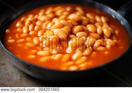 Close Up Of Rustic English Baked Beans In Tomato Sauce
