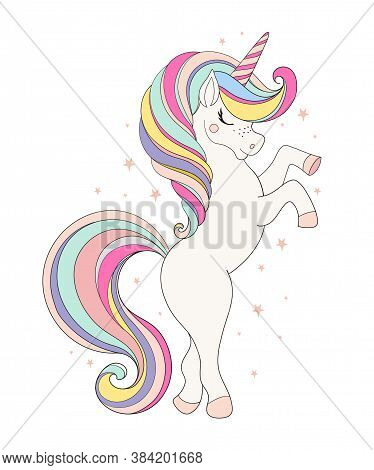 Vector Illustration With Cute Unicorn Isolated On White Background. Flat Cartoon Design For Birthday