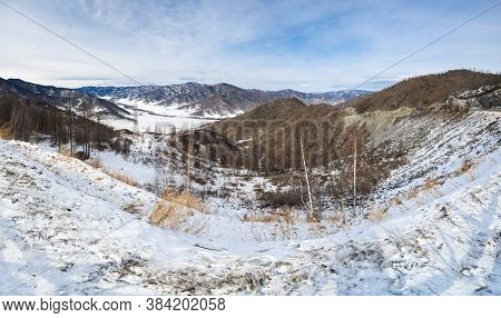 Panoramic View Of The Valley And Mountains From The Chike Taman Pass, Altay, Russia