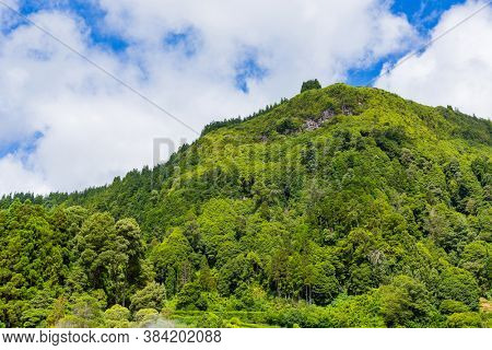 View of  Pico do Ferro, scenic viewpoint, from Lake Furnas on Sao Miguel Island, Azores, Portugal from the