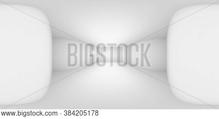 Hdri Environment Map Of Abstract Empty White Room With White Wall, Floor, Ceiling With Niche Without