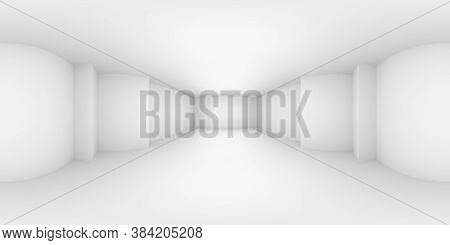 Hdri Environment Map Of Abstract White Empty Room With White Wall, Floor, Ceiling With Niche Without