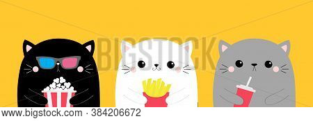 Cat Set. Popcorn, French Fries, Soda. Cute Cartoon Funny Character. Cinema Theater. Film Show. Kitte