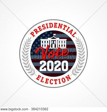 Presidential Election Usa Vote 2020 Emblem. Election Day Amid American Flag. Debate On The Us Presid