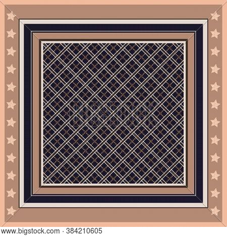 Square Pattern With Geometric Ornament In Frame With Stars. Handkerchief Design.