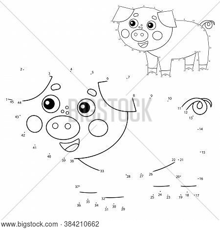 Educational Puzzle Game For Kids: Numbers Game. Cartoon Pig Or Swine. Farm Animals. Coloring Book Fo