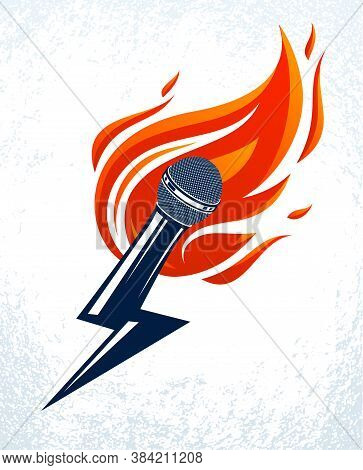 Microphone On Fire And Shape Of Lightning, Hot Mic In Flames And Bolt, Breaking News Concept, Rap Ba