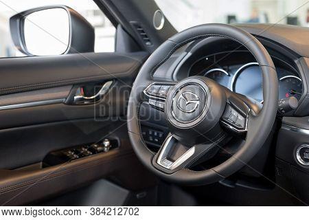 Russia, Izhevsk - August 06, 2020: Mazda Showroom. Interior Of New Mazda Cx-5 Car. Famous World Bran