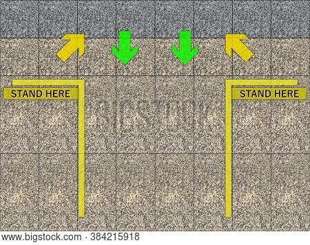 Stand Here Place In Yellow Line Area Place For Transit At Train Station Platform.
