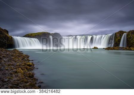 Godafoss Waterfall In Iceland. Godafoss Means The Waterfall Of The Gods In Icelandic. Long Exposure.
