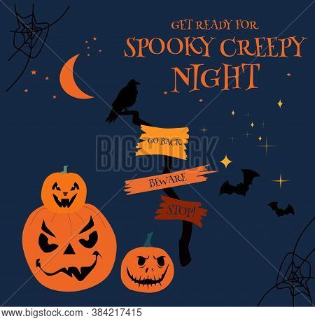 Halloween Night Party Invitation Or Greeting Card With Wooden Tablets Or Pointer With Warning Signs.