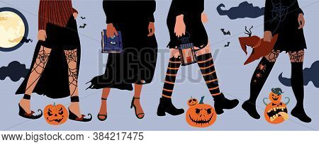 Set Of Four Pairs Female Legs In Stockings In A Grid And High Heels, Boots.halloween Festival.girls