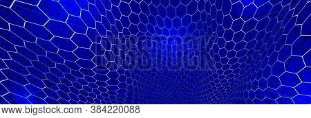 Technology Vector Abstract Background With Hexagons Mesh, 3d Abstraction Of Nanotechnology And Scien