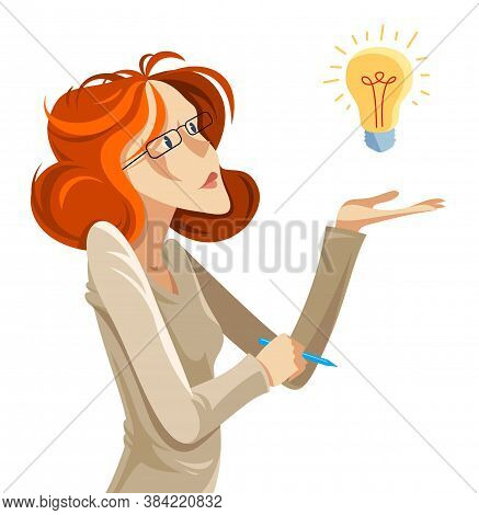 Business Woman With Light Bulb Idea Vector Cartoon Illustration Isolated On White, Thinking And Anal