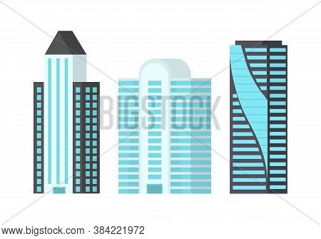 City Skyscrapers Isolated On White Background. Skyscrapers With Glittering Glass Facades In The City
