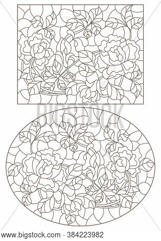 Set Of Contour Illustrations Of Stained Glass Windows With Intertwined Roses, Dark Outlines On A Whi