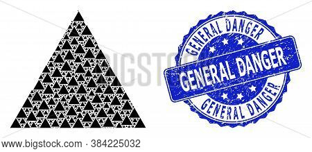 General Danger Rubber Round Seal And Vector Recursion Mosaic Filled Triangle. Blue Stamp Seal Includ