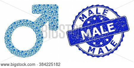Male Grunge Round Stamp Seal And Vector Recursive Collage Male Symbol. Blue Stamp Seal Has Male Text