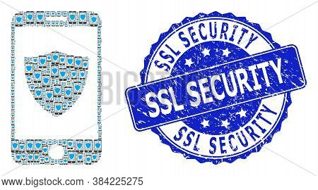 Ssl Security Textured Round Watermark And Vector Recursive Mosaic Smartphone Shield. Blue Stamp Has