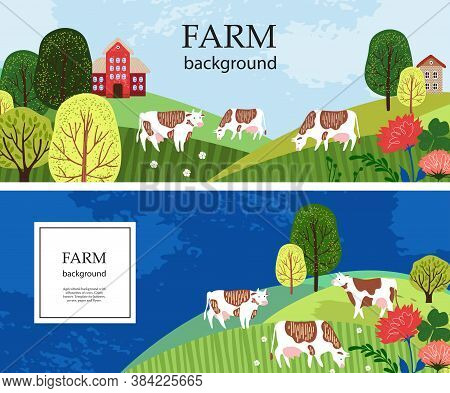 Horizontal Banners. Cows In The Pasture. Silhouettes Of Cows, Houses And Trees.