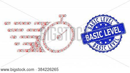 Basic Level Rubber Round Stamp And Vector Recursive Mosaic Time Tracker. Blue Stamp Includes Basic L