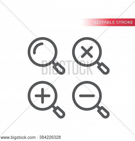 Magnifying Glass, Zoom Thin Line Vector Icon. Magnifier, Plus And Minus, Simple Vector Symbol, Outli