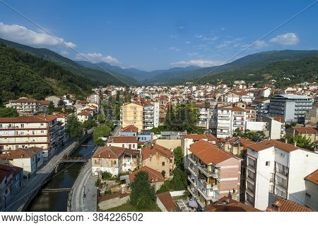 Aerial View Of Florina City In Northern Greece
