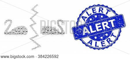 Alert Dirty Round Seal Imitation And Vector Fractal Composition Divorce Swans. Blue Seal Contains Al