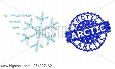 Arctic Rubber Round Stamp And Vector Recursive Collage Frost Wind. Blue Stamp Has Arctic Tag Inside