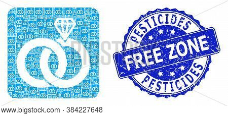 Pesticides Free Zone Scratched Round Stamp Seal And Vector Recursion Composition Jewelry Wedding Rin