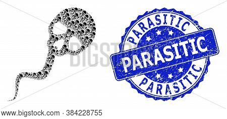 Parasitic Textured Round Seal And Vector Recursive Collage Dead Sperm. Blue Seal Contains Parasitic