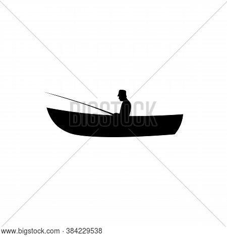Icon Of Black Sign Boat And Fisherman. Vector Illustration Eps 10
