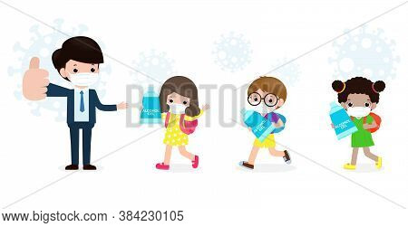 Back To School For New Normal Lifestyle Concept. Happy Students Cute Kids With Teacher Wearing Face