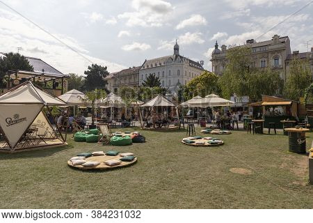 People Gathering At Zagreb Burger Festival On A Sunny Day