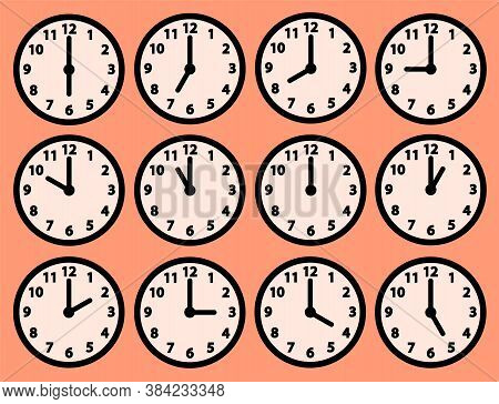 Clock Icons Set With Different Time. Round Dial With Hour And Minute Hands And Numerals. Vector Isol