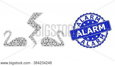 Alarm Corroded Round Stamp And Vector Recursive Mosaic Divorce Swans. Blue Stamp Includes Alarm Capt