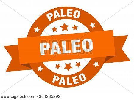 Paleo Round Ribbon Isolated Label. Paleo Sign