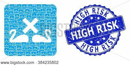 High Risk Dirty Round Stamp And Vector Recursion Mosaic Divorce Swans. Blue Stamp Seal Has High Risk