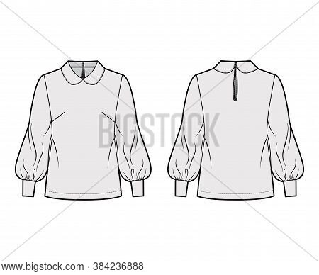 Long Bishop Sleeve Blouse Technical Fashion Illustration With Round Collar, Back Button-fastening Ke