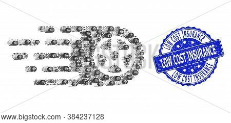 Low Cost Insurance Scratched Round Seal And Vector Recursive Mosaic Tire Wheel. Blue Seal Contains L
