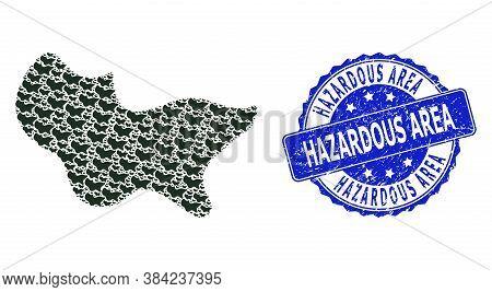 Hazardous Area Dirty Round Stamp And Vector Fractal Mosaic Spot. Blue Stamp Seal Has Hazardous Area
