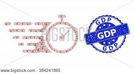 Gdp Dirty Round Stamp And Vector Recursive Mosaic Time Tracker. Blue Seal Has Gdp Caption Inside Rou