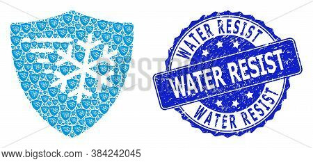 Water Resist Rubber Round Stamp And Vector Recursive Composition Frost Protection. Blue Stamp Has Wa