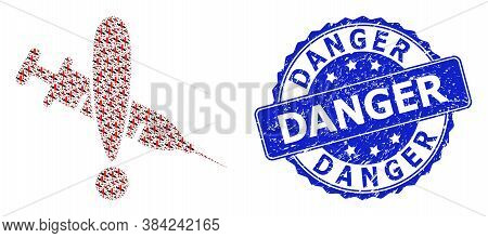Danger Scratched Round Stamp And Vector Fractal Collage Danger Vaccine. Blue Stamp Contains Danger T